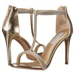 Steve Madden Gold Faylinn Rhinestone Heel Sandal